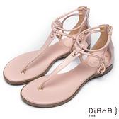 DIANA簡約韓風--金屬水滴型鏤空夾腳涼鞋(粉)★特價商品恕不能換貨★