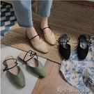 夏季新款網紅時尚百搭兩穿包頭半拖鞋女仙女風平底外穿 洛小仙女鞋