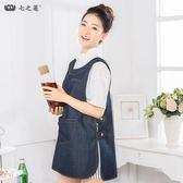 廚房牛仔圍裙韓版時尚 工作圍裙牛仔布馬夾背心式女款圍裙罩衣