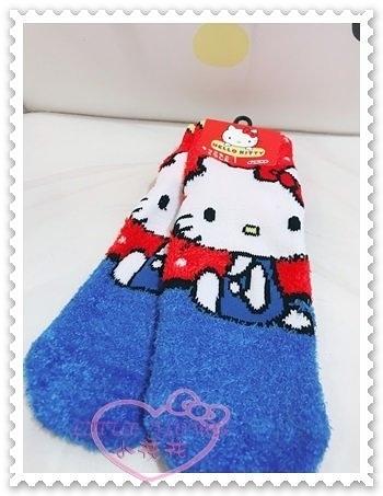 ♥小花花日本精品♥Hello Kitty 棉襪毛襪保暖襪冬天必備坐姿大臉蝴蝶結紅藍色日本限定 77703309