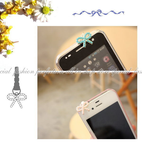 【DY207】韓國 亮彩 珍珠蝴蝶結 防塵塞 iphone htc 3.5MM 耳機孔均適用~不挑色 EZGO商城