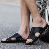 室外男士拖鞋夏季時尚防滑正韓潮流皮涼拖鞋休閒一字拖男個性拖鞋 七夕情人節85折
