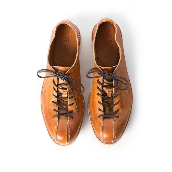日本極柔綁帶休閒皮鞋/蟑螂鞋#51111焦糖色 -ARGIS日本製手工皮鞋