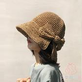 大沿帽草帽夏防曬帽子太陽帽遮陽海邊沙灘帽大帽檐【少女顏究院】
