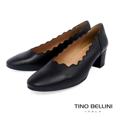 Tino Bellini西班牙進口優雅波浪輪廓粗跟鞋_黑 TF8538 歐洲進口款
