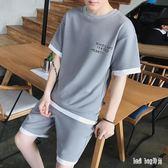 男生運動休閒套裝短袖t恤五分褲短褲夏天一套兩件套夏季裝 QG24668『Bad boy時尚』