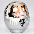 日本製 心願成就 開運 彩繪 達摩 福神 不倒翁 群馬縣高崎生產 銀色 旺氣招來