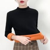 加絨加厚半高領毛衣女短款新款秋冬季寬鬆長袖打底針織衫 卡卡西