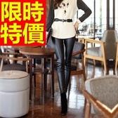 皮褲-簡約休閒彈力女長褲1色63u48【巴黎精品】