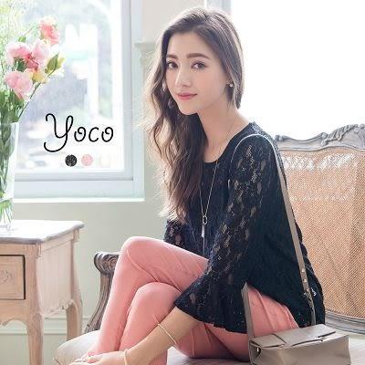 東京著衣【YOCO】優雅花語傘袖蕾絲上衣-XS.S.M(6016108)