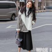 毛呢外套 秋冬季新款名媛洋氣毛呢外套女小香風短款冬加厚羊毛羔外套女  交換禮物