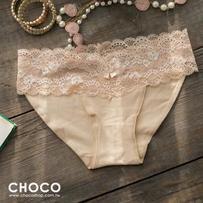 簡約原色‧彈力蕾絲花邊棉質內褲(膚色) S~L Choco Shop