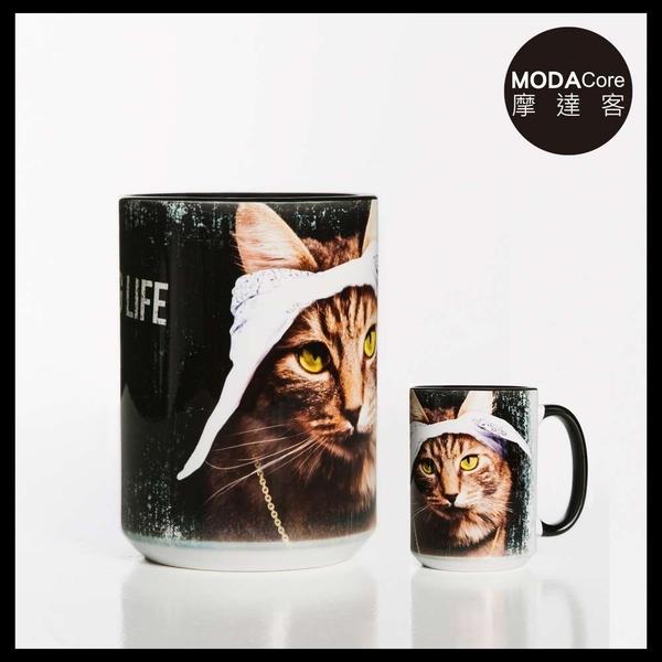 【摩達客】(預購)美國The Mountain 頭巾饒舌貓  圖案設計藝術馬克杯 440ml
