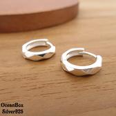 ☆§海洋盒子§☆精緻稜形切面針式易扣925純銀耳環