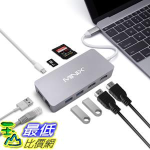 MINIX USB-C集線器多端口適配器 帶雙HDMI輸出 4K適配器 千兆以太網端口 USB-C充電 灰色 [美國代購]