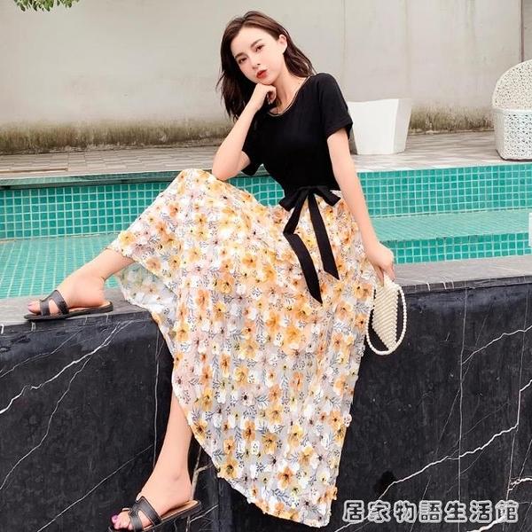 夏季新款女裝顯瘦雪紡假兩件洋裝小香風長款過膝碎花裙子 居家物語
