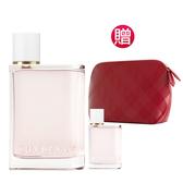 BURBERRY博柏利 Her女性淡香水100ml(贈)同款隨行香氛+英式優雅亮紅化妝包 Vivo薇朵