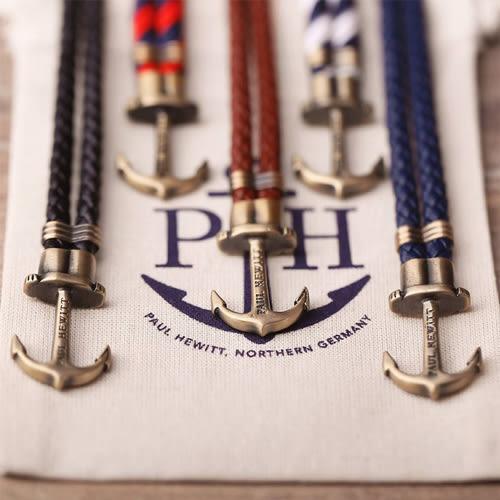 PAUL HEWITT  皮革編織 銀色扣款 德國出品 PHREP 黑色 船錨 真皮 手環 手鍊 男女皆可配戴