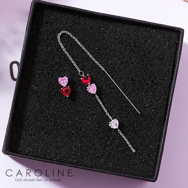 《Caroline》★韓國熱賣不對稱愛心粉色鋯鑽耳環  甜美浪漫風格時尚流行耳環70043