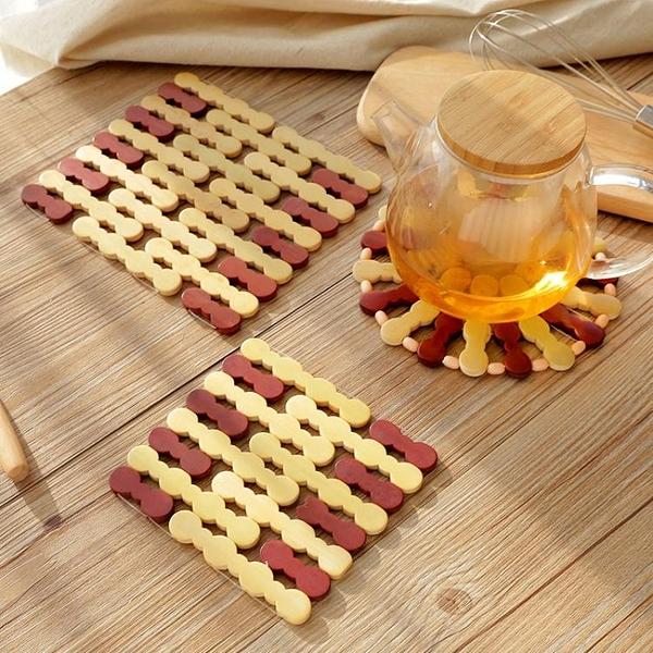 10個裝 隔熱墊桌墊防燙竹墊家用餐墊防熱耐熱碗墊【櫻田川島】