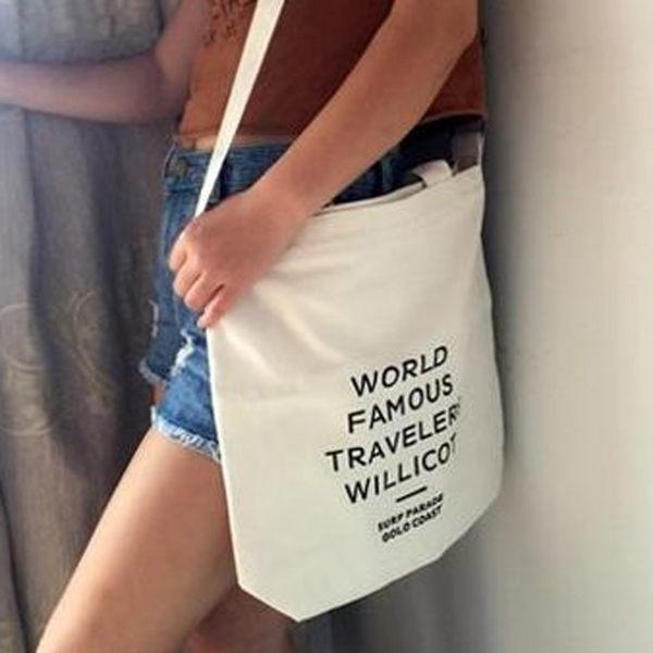 【TT】手提包 帆布包 大容量斜背包 帆布袋 側背包 字母手提袋