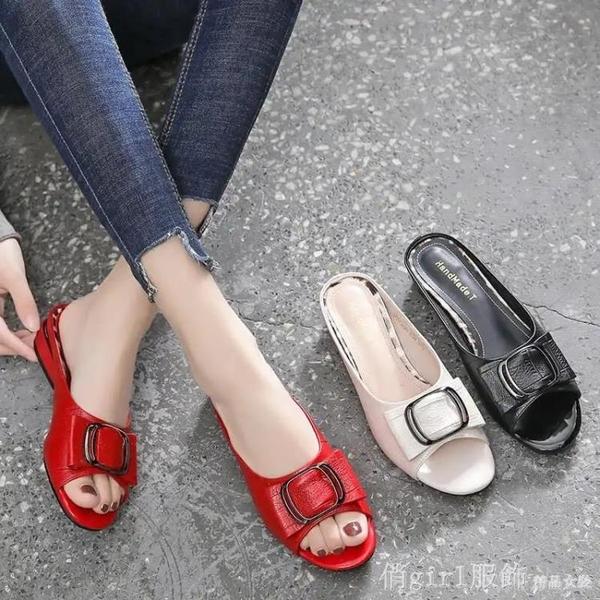 拖鞋 拖鞋女夏外穿ins潮2021年新款半拖網紅時尚粗跟女涼拖鞋 開春特惠