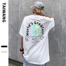 2021夏季歐美寬鬆短袖T恤 日系幻彩球街頭嘻哈體恤T恤 潮流時尚高街壓花T恤 男生五分短袖T恤