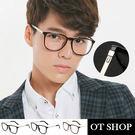 OT SHOP眼鏡框‧中性方框細框款‧簡約韓國型男金屬鏡腳造型平光眼鏡‧現貨‧亮黑/霧黑/茶色‧J20