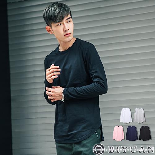 高規圓弧下擺長袖T恤【JG6860】OBI YUAN韓版素面長袖大學T 共5色