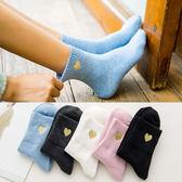 85折日系刺繡愛心女中筒襪韓版甜美短筒襪子開學季