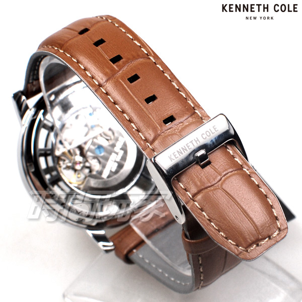 Kenneth Cole 羅馬風情 雙面鏤空 腕錶 自動上鍊機械錶 男錶 咖啡色 真皮錶帶 KC51018002