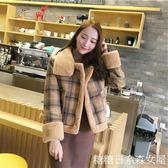 短款外套冬季格子加絨毛呢短款外套小個子呢子大衣