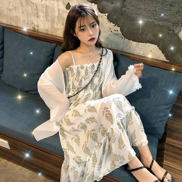 一字肩洋裝 2020夏季新款收腰顯瘦吊帶裙裝女超仙氣質雪紡碎花洋裝子 果果生活館