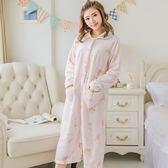 可愛珊瑚絨加厚睡袍長款法蘭絨睡裙冬天女士浴袍睡衣家居服   傑克型男館