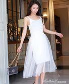 莫代爾拼接網紗裙女裝韓版新款甜美吊帶背心打底洋裝長裙  蜜拉貝爾