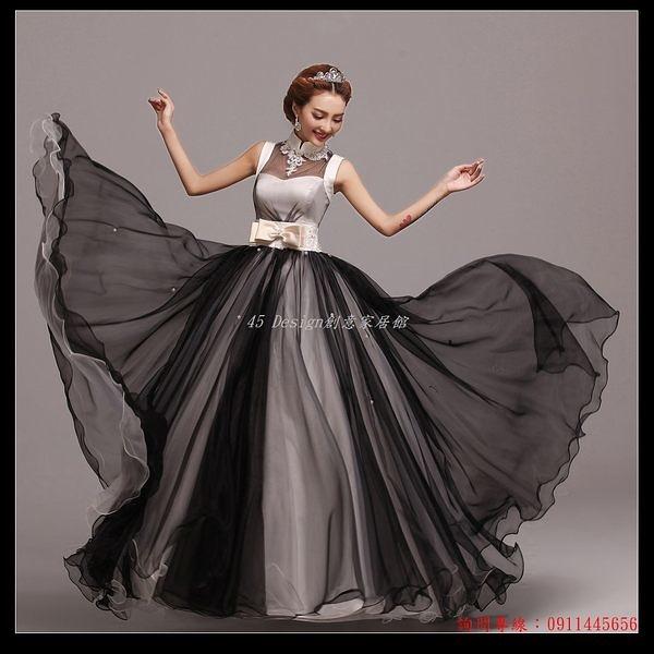 (45 Design創意家居館) 7天到貨 超美設計款黑色公主婚紗晚裝禮服演出服影樓主題服裝演出服