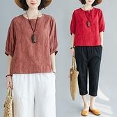 亞麻短袖 亞麻棉麻上衣女短袖t恤夏裝新款韓版寬鬆燈籠袖麻料半袖小衫