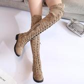 夏季新款馬丁靴女英倫風過膝靴女長筒高筒靴騎士機車靴子女   蘑菇街小屋