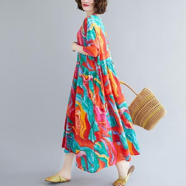 中大尺碼洋裝 連身裙洋氣夏季新款胖妹妹mm民族風寬鬆顯瘦減齡大碼女裝過膝長裙