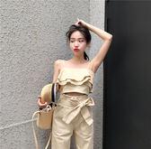 VK精品服飾 韓國風吊帶短款上衣高腰九分褲小腳褲時尚套裝無袖褲裝