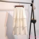 半身裙超仙層層蛋糕裙半身裙女春夏2020新款韓版雪紡白色學生百褶中長裙