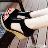 羅馬涼鞋2020新款涼鞋女夏厚底增高坡跟鬆糕運動休閒羅馬涼鞋魚嘴中拉鍊 伊蒂斯