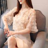 韓版夏天蕾絲短袖雪紡飄逸上衣