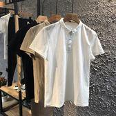 2018夏季新款小翻領POLO衫棉麻修身半袖時尚小衫亞麻短袖T恤潮男 東京衣櫃