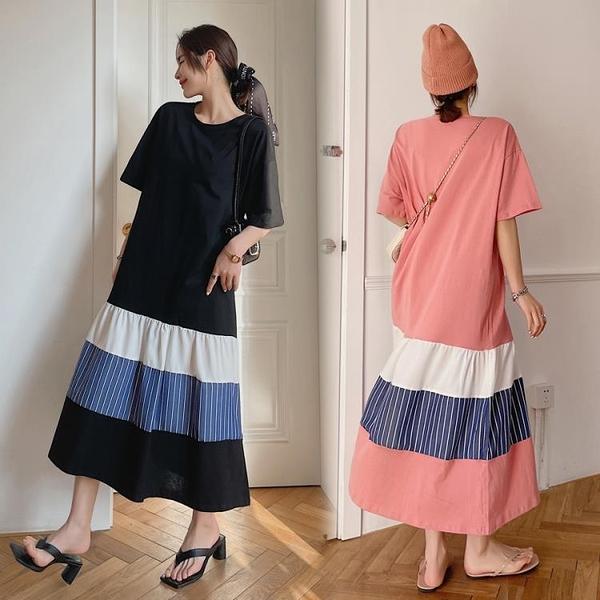 胖妹妹大碼洋裝連身裙~T恤長裙~長款大碼拼接裙擺短袖連身裙6550.DC109衣時尚