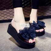 【免運】夏季涼拖鞋女外穿高跟一字拖蝴蝶結防滑坡跟厚底海邊度假沙灘鞋