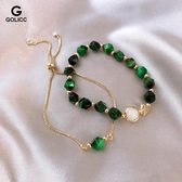 生日禮物 輕奢綠色寶石手鏈韓版手鐲小眾設計手環可調節 情人節禮物