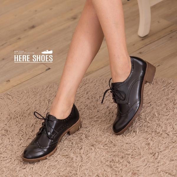 [Here Shoes]休閒皮鞋-英倫學院風 皮革壓紋質感靴 輕量化粗跟好走 MIT台灣製百搭經典款─KiT827