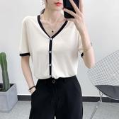 針織衫開衫短袖女冰絲t恤薄款v領夏季2020半袖小香風上衣短款寬鬆 伊蘿