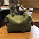 真皮手提包-復古牛皮經典波士頓包女側背包...